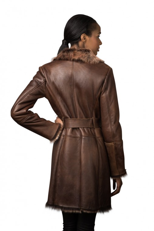 Leather Finish ¾ Shearling Coat